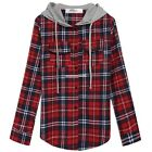 Fashion Women Shirt Blouse Casual Hooded Blouses Plaid Long Sleeves lady's Tops