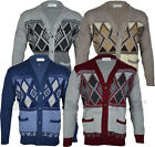 Mens Classic Button Cardigan Argyle Grandad Top  S-5XL
