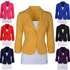 Womens Slim Fit Candy Color One Button Suit Blazer Coat Jacket Plus Size XL-2XL