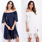HOT Women Summer Off Shoulder Party Cocktail Chiffon Mini Dress Short Sleeve