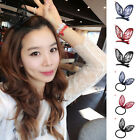 Womens Girl's Lovely Bow Rabbit Bunny Ear Hair Clips Lace Ponytail Holder