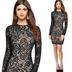 Womens Sexy Geometry Lace Ladies Cool Chic Casual Party Bodycon Mini Dress 4635