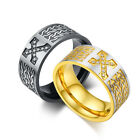 Stainless Steel X With Crystal Mens Ring, Gold, Black