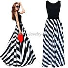Women Summer Striped Boho Evening Party Long Maxi Beach Dress Chiffon Dresses