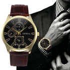 Luxury Men's Watch Date Stainless Steel Leather Band Analog Quartz Wrist Watch