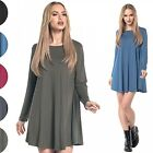 Glamour Empire. Women's Stretch Swing Mini Dress Crew Neckline Long Sleeve. 603