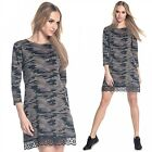 Glamour Empire. Women's Shift Dress Camo Pattern 3/4 Sleeves Lace Hemline. 210