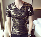 New Men's Charming V Neck Slim Fit Gold Short Sleeve Casual T Shirt Top M-XXL