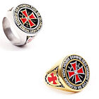 Red Cross Stainless Steel Crystal Mens Ring Punk jz044
