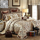 Floral Quilt Doona Cover Set Queen/King Size Bed Satin Duvet Covers Set Linen