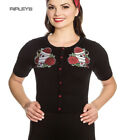 Hell Bunny Ladies Rockabilly Drink Me TEA PARTY Cardigan Top Roses All Sizes