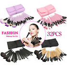 32pcs  Professional Soft Cosmetic Eyebrow Shadow Makeup Brush Set +Bag Case