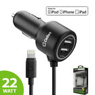 Rapid Fast Charge 4.4 Amp 2-port Car Charger Apple Mfi Certified For Iphones