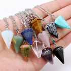 Natural Crystal Quartz Healing Point Chakra Bead Gemstone Pendant Necklace