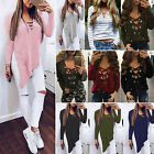 Ladies Womens V Neck Top Casual Long Sleeve Jumper Loose T-Shirt Blouse Tops NEW