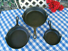Griswold Cast Iron Large Block 3 Piece Skillet Set – #3, #6, and #8