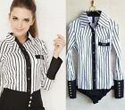 Classic Fashion Striped Long Sleeved  Bodysuit Shirt Top- S M L XL XXL