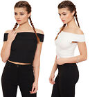 Womens Ribbed Off Shoulder Crop Top Ladies Sleeveless Short Stretch Plain 8-14