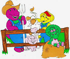 """6""""-9"""" BARNEY ON FARM BABY BOP BJ WALL STICKER GLOSSY BORDER CHARACTER CUT OUT"""