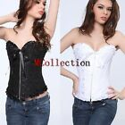 Ladies Overbust Corsets Basques Floral Zip Front Lace Up Bustier Sexy Lingerie