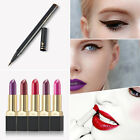 12 Colors Women Lipstick Waterproof Thin Lip Gloss Quick Dry Eyeliner Pen Set