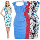 Womens 50's 60's Vintage Floral Style Bodycon Pin up Evening Pencil Wiggle Dress