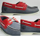 Childrens Boys Kids Timberland Classic Navy Red Leather Deck shoes size 11.5 M