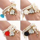 Hot Sell Women Rose Flower Faux Pearl Round Dial Quartz Bracelet Wrist EN24H01