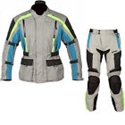 Spada Turini Motorcycle Jacket & Trousers Platinum Blue Kit Waterproof CE Armour