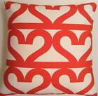 SINGLE TRENDY CUSHION COVERS MADE FROM IKEA RED HEARTS SAME FABRIC FRONT & BACK
