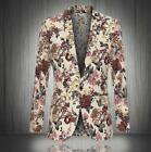 Mens Floral Printed Slim Fit Lapel Coats Blazers Jackets One Button Suits Tops