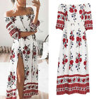 Womens Ladies Boho Floral Beach Dress Evening Cocktail Party Long Maxi Dress