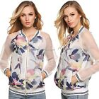 FINEJO Women Casual V-Neck Patchwork Floral Full Zip Long Sleeve Tops N4U8