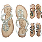 Naughty Monkey Ring Teaser Women's Beaded Thong Sandals Leather