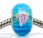 Wholesale Lots HX Blue Goldsand Lampwork Glass Beads Fit Charm Bracelet