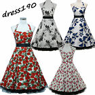 dress190 White Halter Neck Floral 50s Rockabilly Cocktail Prom Ball Party Dress