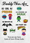 A4 Personalised Superhero Gift Dad Daddy Grandad Uncle Brother Hero Birthday