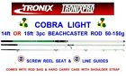 Clearance Tronix Pro Cobra Light 3Pc Carbon Beachcaster Rod For Sea Surf Fishing