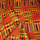 Veritable Wax Dyed Kente Print Cotton Cloth Fabric, Blue, Orange, Red, & Gold