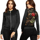 Womens Floral Rose Lace Back Bomber Jacket Ladies Long Sleeve Zip Plain New 8-14
