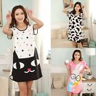 Women Summer Cartoon Sleepwear Nightwear Pajamas Nice Short Sleeve Sleep Dress