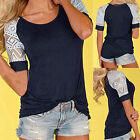 Fashion Women's Casual Short Sleeve Lace T-shirt Tops Blouse Ladies Tee Top New