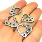 10/50Pcs Solid Stainless Steel Heart Frame Charms Pendant Charms 19x20mm JS028