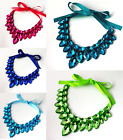 CHUNKY BLUE, GREEN, TURQUOISE OR HOT PINK FACETED ACRYLIC BEAD CRYSTAL NECKLACE