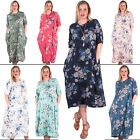 Womens Floral Print Side Pocket Cotton Midi Party Dress Plus Size 14 16 18 24