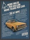 1981 Datsun Nissan 210 5 speed yellow coupe MPG photo print ad