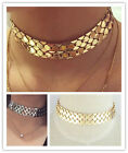 STATEMENT METAL CHAIN LINK WIDE SILVER GOLD TONE CHOKER WOMEN NECKLACE
