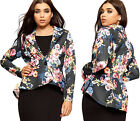 Womens Dip Hem Collar Jacket Top Ladies Floral Print Open Collar Button New 8-14