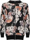 Plus Womens Zip Bomber Jacket Ladies Floral Print Long Sleeve Stretch New 14-28