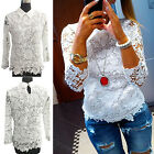 CHIC Fashion Womens Loose Casual Long Sleeve Lace Shirt Tops Blouse Ladies Tops